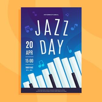 Folheto de dia internacional do jazz de design plano