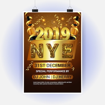 Folheto de dj para festa de ano novo