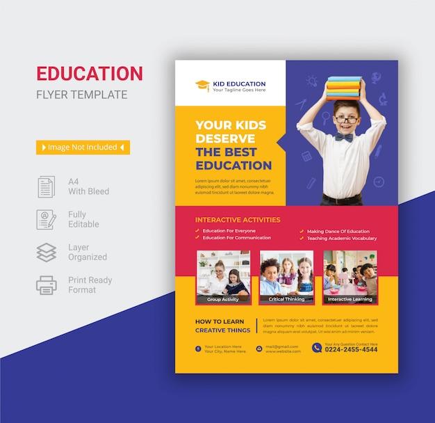Folheto de educação de crianças de escola