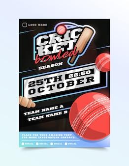 Folheto de esporte de críquete