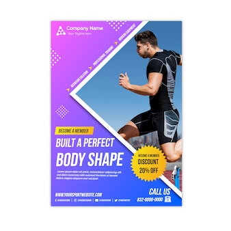 Folheto de esporte de forma de corpo perfeito com foto