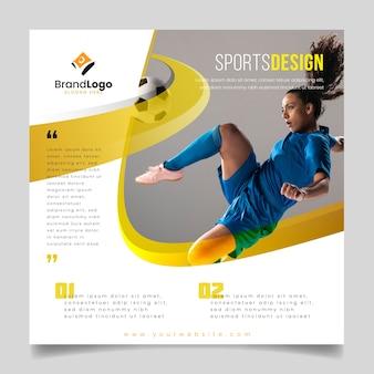 Folheto de esportes com jogador de futebol