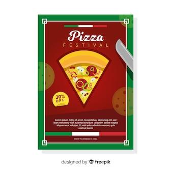 Folheto de fatia de pizza plana