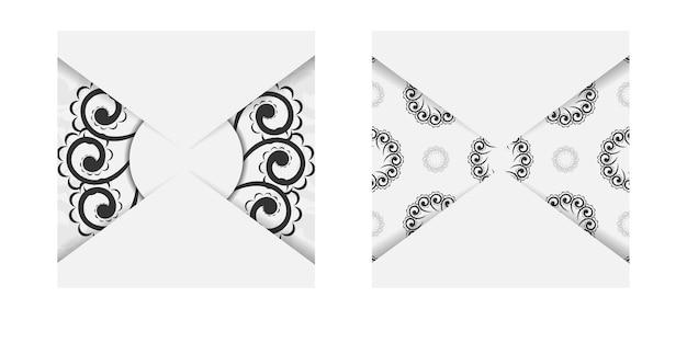 Folheto de felicitações em branco com padrão grego preto