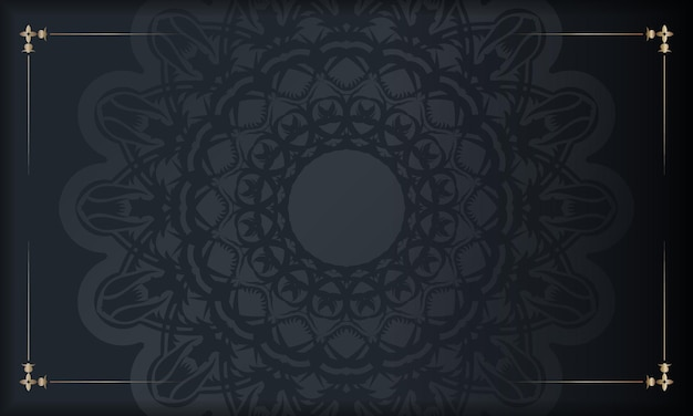 Folheto de felicitações na cor preta com padrão abstrato pronto para impressão.
