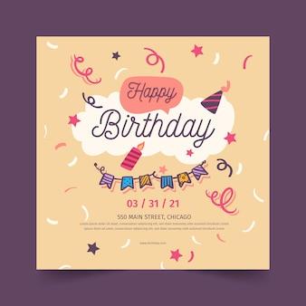 Folheto de feliz aniversário quadrado
