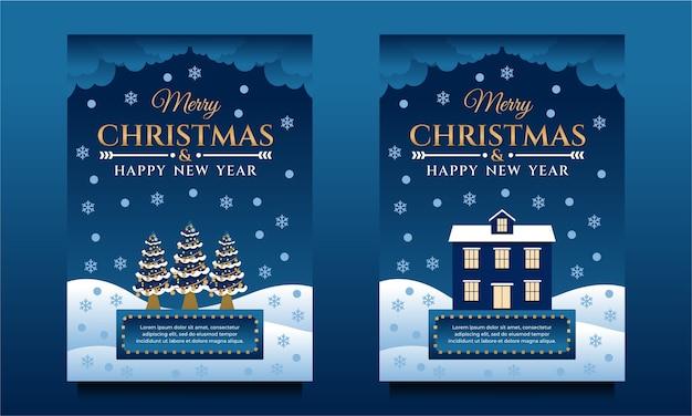 Folheto de feliz natal e feliz ano novo, pôster, modelo de banner com árvore de natal e casa