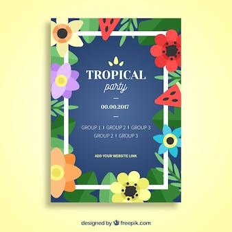 Folheto de festa com moldura e flores tropicais em design plano