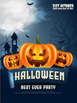 Folheto de festa da noite de halloween