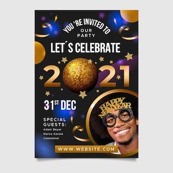 Folheto de festa de ano novo 2021 com balões