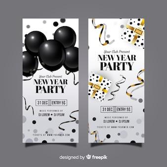 Folheto de festa de ano novo elementos realistas