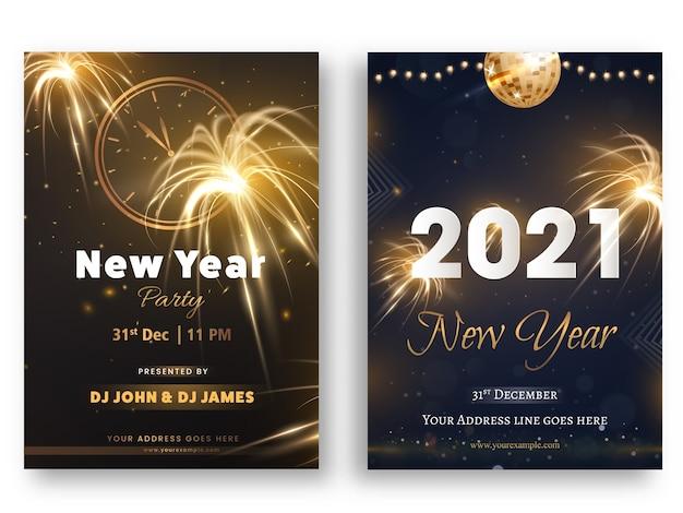 Folheto de festa de ano novo ou cartão de convite com detalhes do evento
