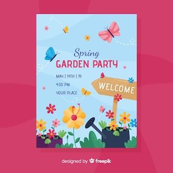 Folheto de festa de convite jardim primavera