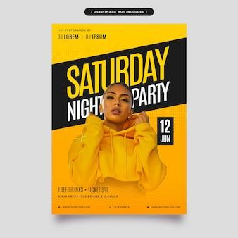 Folheto de festa de evento elegante, pôster com fundo preto e amarelo - folheto editável