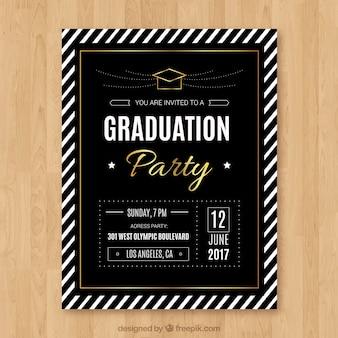 Folheto de festa de graduação de luxo com listras brancas