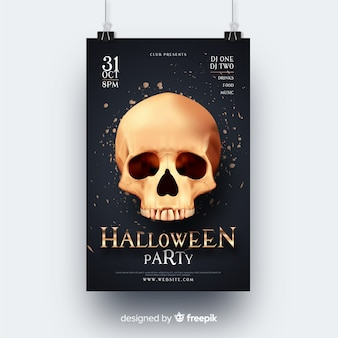 Folheto de festa de halloween de crânio realista