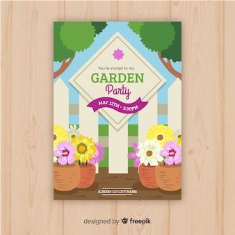 Folheto de festa de jardim
