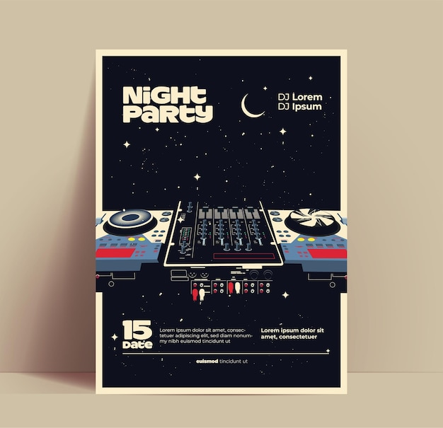 Folheto de festa de música noturna ou modelo de design de pôster ou banner para boate com dj mixer