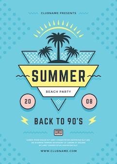 Folheto de festa de praia de verão ou tipografia de modelo de cartaz dos anos 90