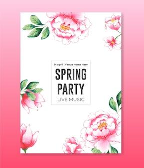 Folheto de festa de primavera em aquarela