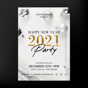 Folheto de festa elegante de ano novo 2021