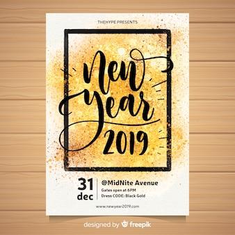 Folheto de festa em aquarela do ano novo 2019