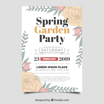 Folheto de festa jardim primavera