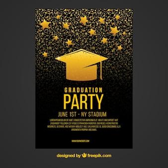 Folheto de festa preto e ouro com boné de graduação e estrelas