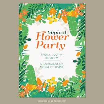 Folheto de festa tropical com folhas e flores amarelas e laranja