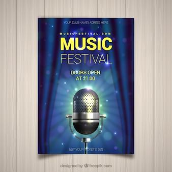 Folheto de festival de música com microfone em estilo realista