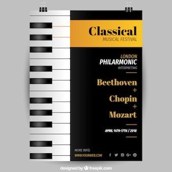 Folheto de festival de música com piano em estilo realista