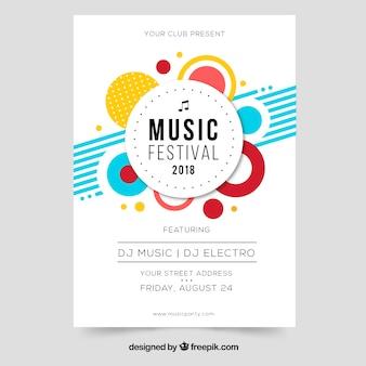 Folheto de festival de música em design plano