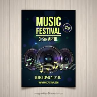 Folheto de festival de música em estilo realista