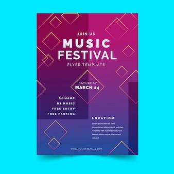 Folheto de festival de música em gradiente