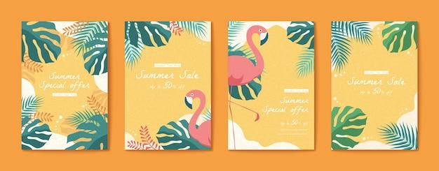 Folheto de flamingo e folhas tropicais