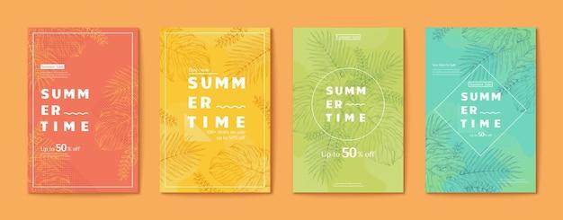Folheto de folhas tropicais em estilo de linha