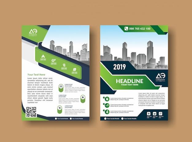Folheto de folheto de layout de capa para evento e relatório