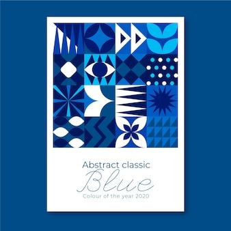 Folheto de formas azuis clássicas geométricas florais