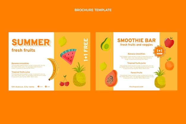 Folheto de frutas planas saudáveis