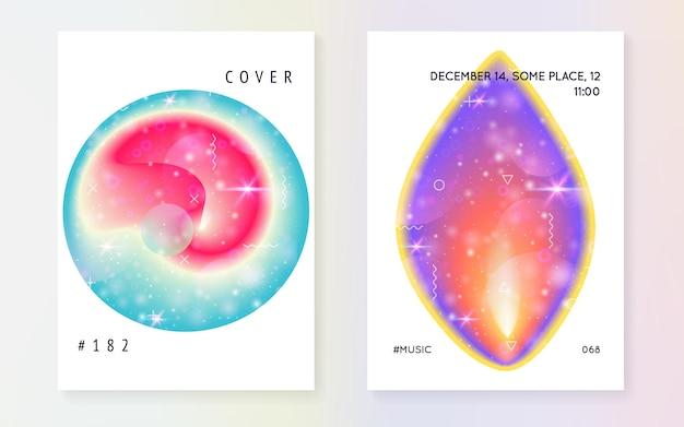 Folheto de galáxia. unicórnio sonhador mágico 3d brilha. a ciência solar cobre com planeta, sol, luz fluida profunda. gradientes holográficos. folheto de galáxia com formas do universo e poeira estelar.