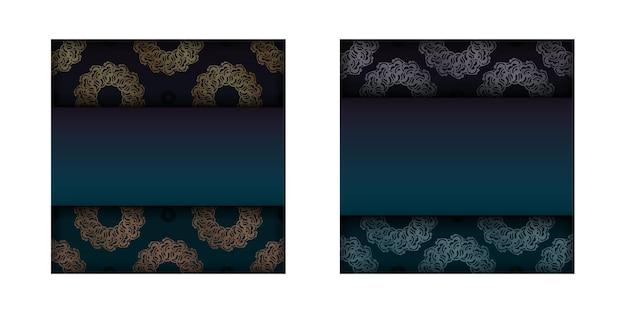 Folheto de gradiente gradiente verde com ornamentos de ouro vintage para seu projeto.