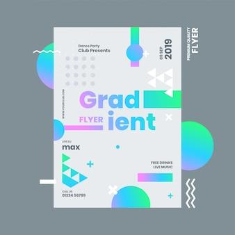 Folheto de gradiente ou modelo de design com elementos abstratos e detalhes do local.
