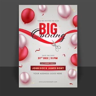 Folheto de grande inauguração ou design de modelo com balões brilhantes e detalhes do evento
