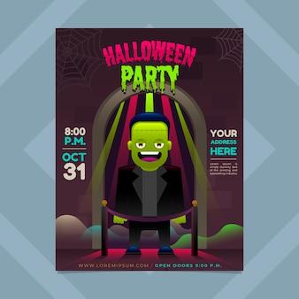 Folheto de halloween em estilo gradiente