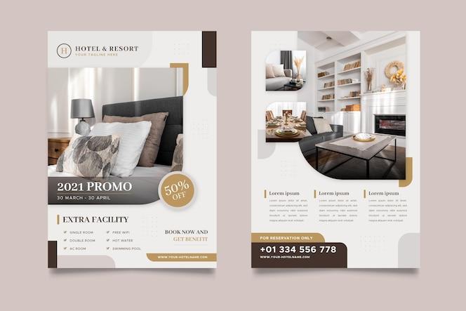Folheto de informações do hotel com foto