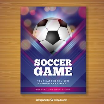 Folheto de jogo de futebol em estilo realista