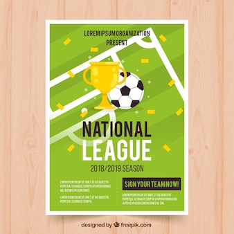 Folheto de liga de futebol com bola e troféu