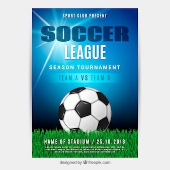 Folheto de liga de futebol com bola em estilo realista