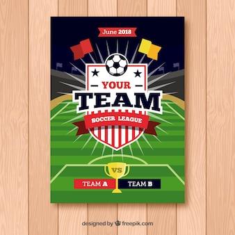 Folheto de liga de futebol com bola em estilo simples