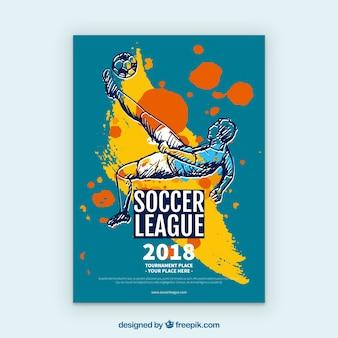 Folheto de liga de futebol com jogador desenhado na mão estilo